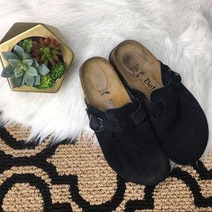 Birkenstock Betula Black Suede Slide On Clogs